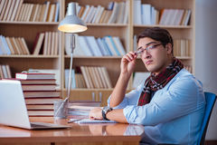 The young book writer writing in library Royalty Free Stock Photography
