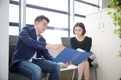 Young boss and assistant at work Royalty Free Stock Image