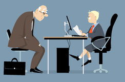 Young boss. Elderly person having a job interview with a hiring manager, looking like a little boy, EPS 8 vector illustration royalty free illustration