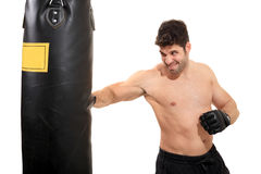 Young boxer exercising on boxing bag. Young boxer exercising on a boxing bag isolated on a white background Stock Photo