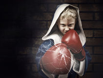 Young boxer fighter breaking the glass Royalty Free Stock Images