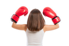 Young boxer girl from behind Royalty Free Stock Images