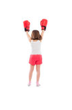 Young boxer girl champion from behind Royalty Free Stock Photography