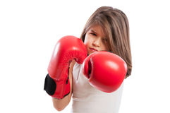 Young boxer girl in a fighting position Stock Images