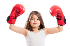 Young boxer girl raising arms up Royalty Free Stock Photography
