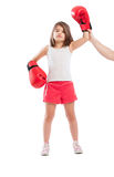 Young boxer girl is a winner Stock Photo