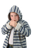 Young boxer in gray hood isolated on white Stock Photo