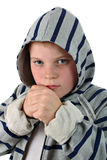 Young boxer in gray hood isolated on white Stock Photos