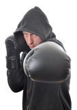Young boxer in hood isolated Stock Photos
