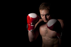 Young Boxer over black background Stock Photo