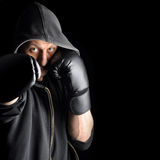 Young boxer over dark background Royalty Free Stock Images