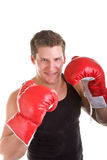 Young Boxer Posing with Red Gloves stock image