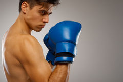 Young Boxer ready to fight. Royalty Free Stock Photos