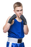 Young boxer sportsman in blue sport suit Stock Photos