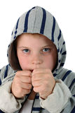 Young boxer in sportswear isolated on white Royalty Free Stock Photos