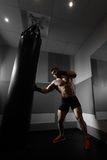 Young boxer trains on punching bag Royalty Free Stock Photography