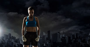 Young boxer woman outdoor . Mixed media Stock Images