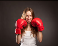 Young boxer woman Royalty Free Stock Images