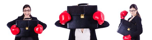 The young boxing businesswoman isolated on white Royalty Free Stock Images