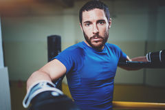 Young boxing man ready to muay thai fight on ring.Bearded athlete in black gloves looking at the camera.Blurred Stock Image