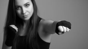Young boxing woman. Royalty Free Stock Images