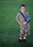 Young boy 21. Young boy wearing a patriotic colored cast Royalty Free Stock Image