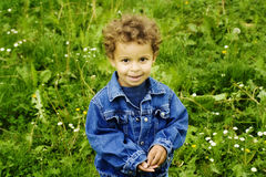 Young Boy. A two year old boy standing in the grass Stock Photo