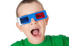 Young boy with 3D glasses Stock Image