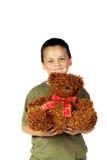 Young boy 4. Young boy holding his Christmas teddy bear royalty free stock photos