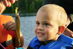 A young boy admires the sunfish he caught. Off the dock at the lake royalty free stock image