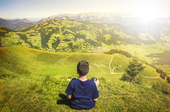 Young boy admiring the nature Stock Images