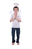 Young boy in an angel costume. With wings and a halo isolated over white Stock Images