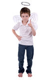 Young boy in an angel costume. With wings and a halo isolated over white Royalty Free Stock Photo