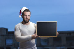 Young boy announcing christmas Royalty Free Stock Photography