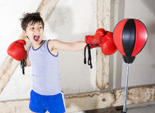 Young boy as a boxer. Young boy with red boxing gloves Stock Photo