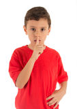 Young boy asking silence Royalty Free Stock Image