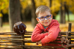 Young boy in autumn park near a wooden fence Stock Photo