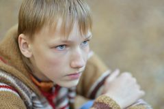 Young boy in autumn park. Portrait of thinking young boy in autumn park Stock Photos