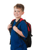 Young boy with backpack on white Stock Image