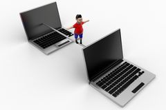 Young boy balanced through Laptops Royalty Free Stock Photo