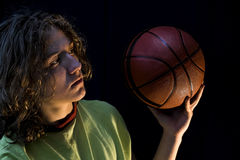 Young boy with basketball Stock Image