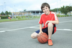 Young Boy In Basketball who having fun Royalty Free Stock Photo
