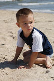 Young boy on the beach. Young boy 3 years old on the beach Royalty Free Stock Photos
