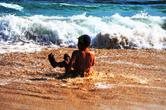 Young boy on the beach. In spain royalty free stock photography