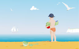Young boy on a beach stock illustration