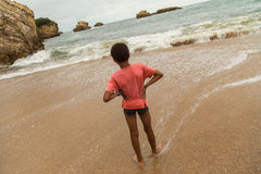 Young boy on beach, Biarritz, France Stock Image