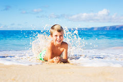 Young Boy on the Beach Stock Image