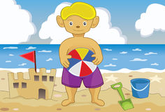 Young boy in a beach. Illustration of a young boy holding a ball and playing on a beach Stock Photo
