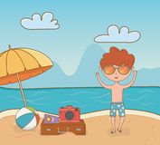 Young boy on the beach scene. Vector illustration design royalty free illustration