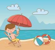 Young boy on the beach scene. Vector illustration design stock illustration